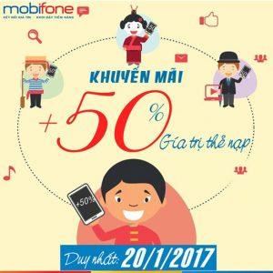Mobifone tặng 50% giá trị thẻ nạp ngày 20/1/2017