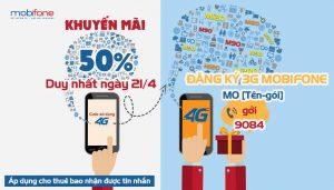 Khuyến mãi Mobifone tặng 50% giá trị thẻ nạp ngày 21/4/2017