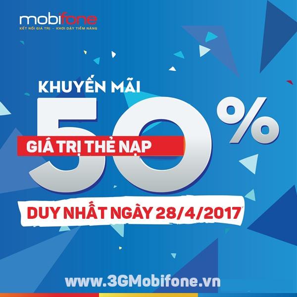 Mobifone khuyến mãi tặng 50% thẻ nạp