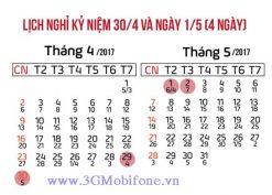 Lịch nghỉ lễ 30/4 và 1/5/2017 (nghỉ 4 ngày)