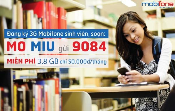 Đăng ký 3G MobiFone gói MIU sinh viên 50.000đ 1 tháng