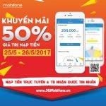 Mobifone khuyến mãi 50% giá trị thẻ nạp trong 2 ngày 25/5, 26/5