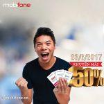 Mobifone khuyến mãi ngày 23/6/2017 tặng 50% thẻ nạp