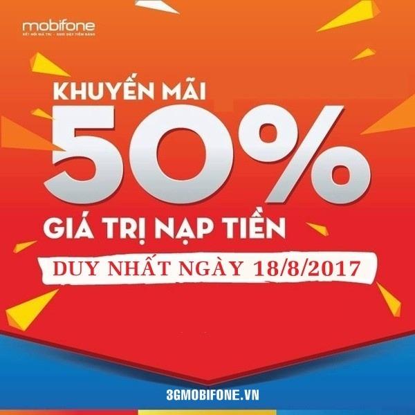 Chương trình Mobifone khuyến mãi ngày 18/8/2017