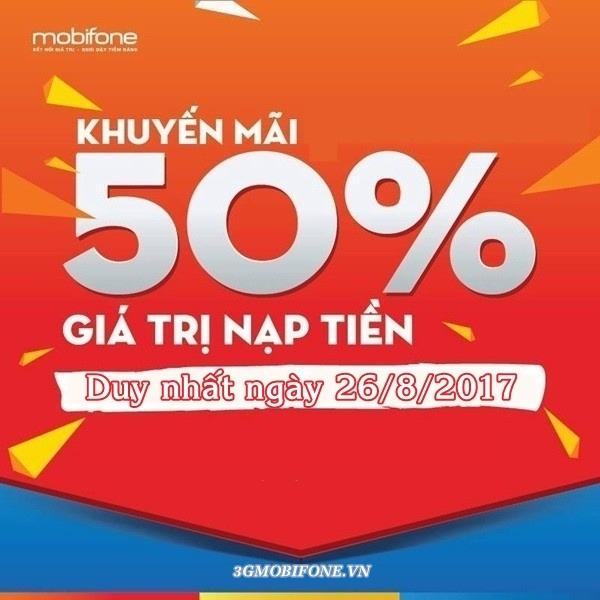 Chương trình Mobifone khuyến mãi ngày 26/8/2017
