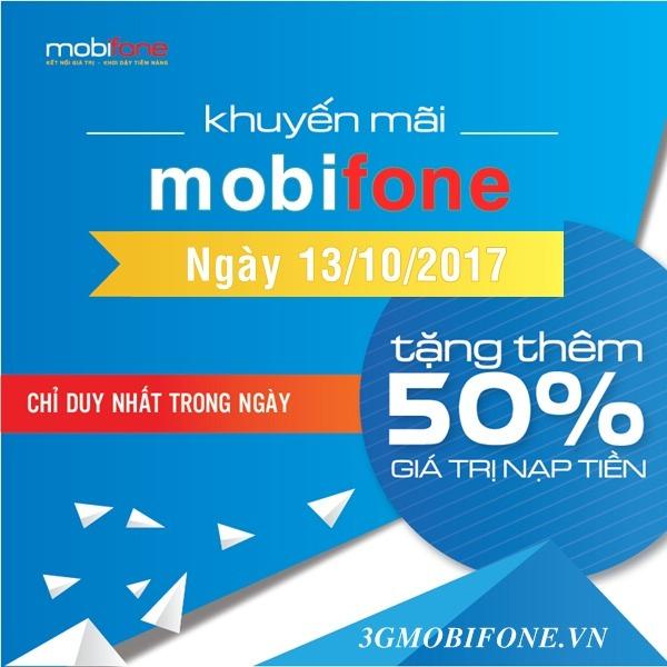Chương trình Chương trình Mobifone khuyến mãi ngày 13/10/2017