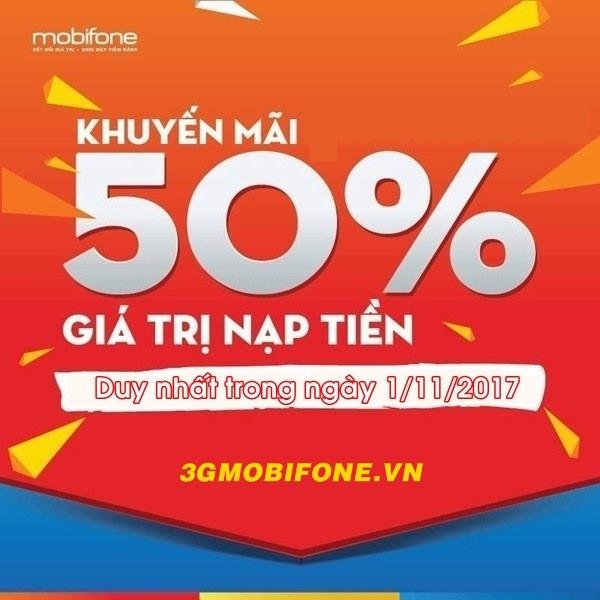 Chương trình Mobifone khuyến mãi ngày 1/11
