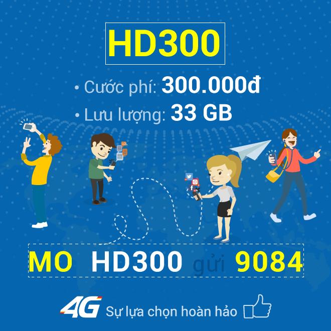 Đăng ký gói HD300 Mobifone nhận 33GB Data 4G chỉ 300.000đ