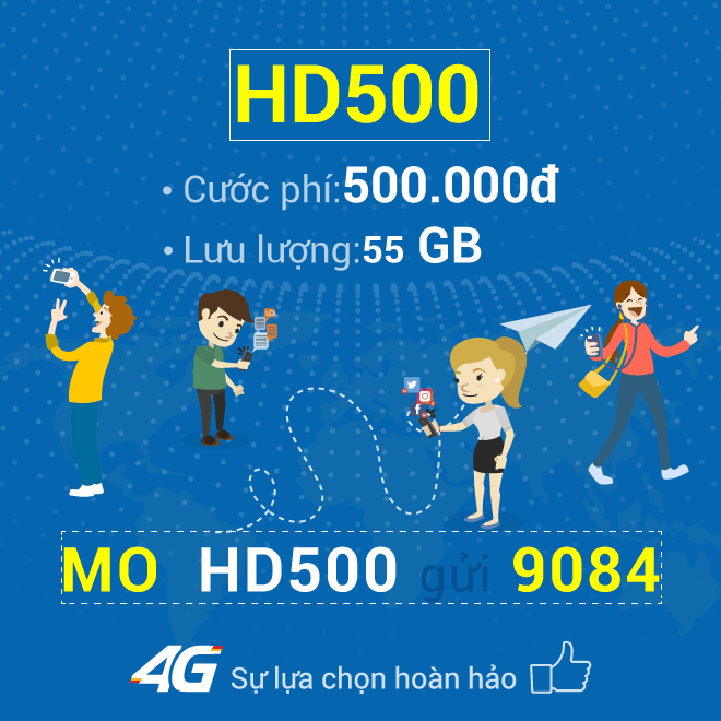 Đăng ký gói HD500 Mobifone nhận 55GB Data 4G chỉ 500.000đ