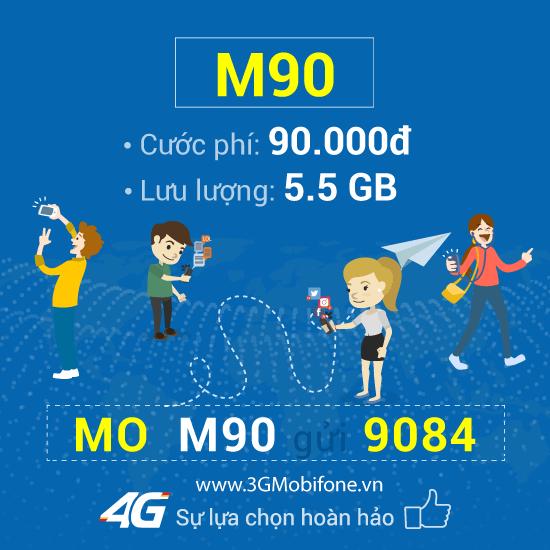 Đăng ký gói cước M90 Mobifone chỉ 90.000đ nhận 5.5GB data