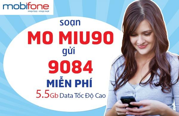 Đăng ký gói MIU90 Mobifone trọn gói nhận 5.5 GB chỉ 90.000đ