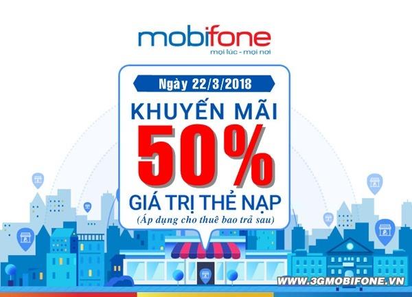 Mobifone khuyến mãi 22/3 tặng 50% thẻ nạp cho thuê bao trả sau