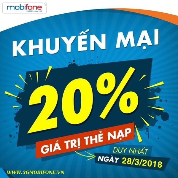 Chương trình Mobifone khuyến mãi 28/3/2018