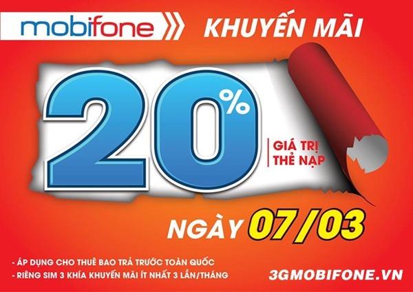 Chương trình Mobifone khuyến mãi ngày 7/3/2018