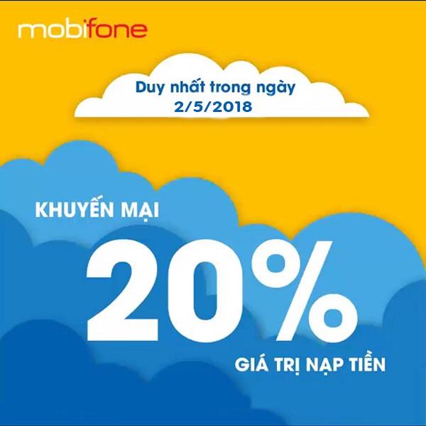 Chương trình Mobifone khuyến mãi 2/5/2018