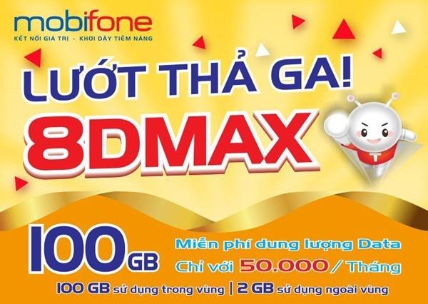 Đăng ký gói 8DMAX Mobifone nhận 100GB chỉ với 50.000đ/tháng