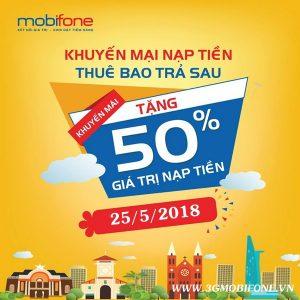 Chương trình Mobifone khuyến mãi nạp tiền trả sau ngày 25/5/2018