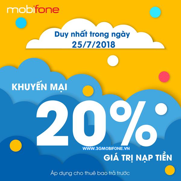 Chương trình Mobifone khuyến mãi ngày 25/7/2018