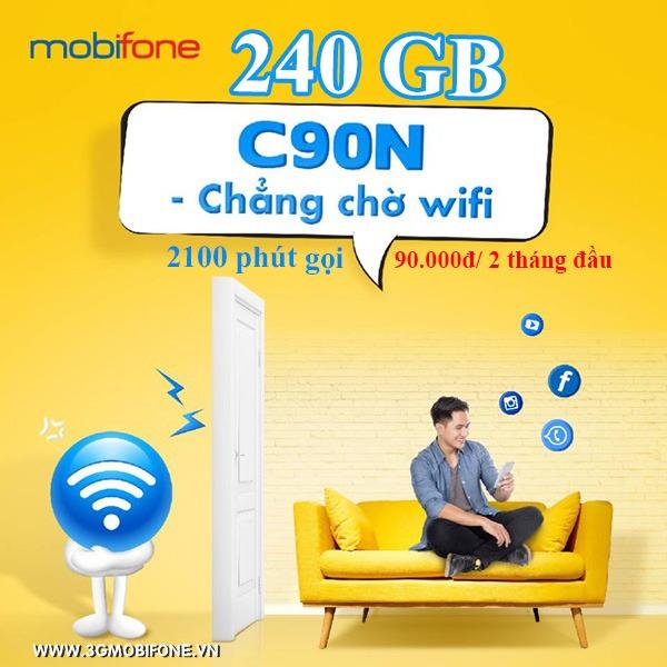 Đăng ký gói C90N Mobifone nhận  2100 phút gọi, 240 GB chỉ 90.000đ cho 2 tháng đầu