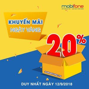 Chương trình Mobifone khuyến mãi Ngày Vàng 12/9/2018
