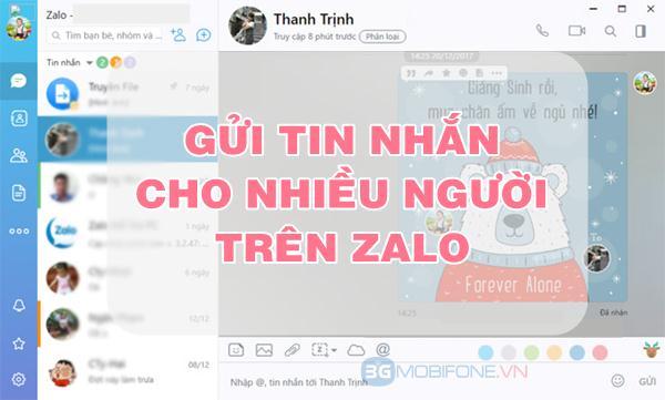 Cách nhắn tin Zalo cùng lúc cho nhiều người