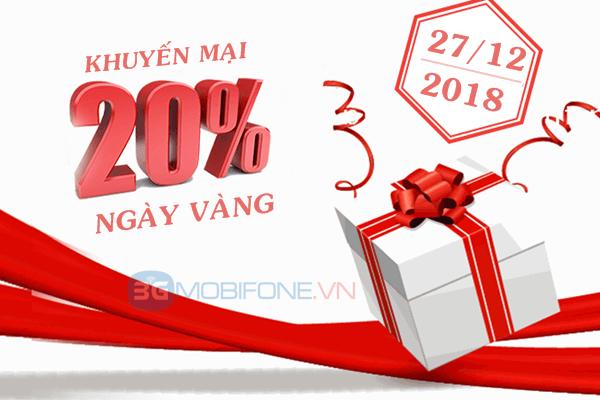 Chương trình Mobifone khuyến mãi ngày vàng 27/12/2018