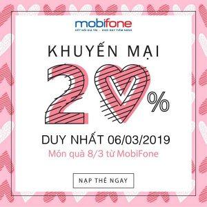Mobifone khuyến mãi ngày vàng 6/3/2019 tặng 20% thẻ nạp