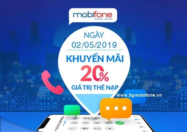 Mobifone khuyến mãi ngày 2/5/2019 tặng 20% giá trị thẻ nạp