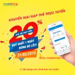 Mobifone khuyến mãi ngày 31/5/2019 tặng 20% thẻ nạp