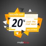 Mobifone khuyến mãi ngày 3/7/2019 tặng 20% thẻ nạp