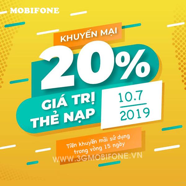 Mobifone khuyến mãi ngày 10/7/2019 tặng 20% thẻ nạp