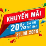 Mobifone khuyến mãi ngày 21/8/2019 tặng 20% thẻ nạp