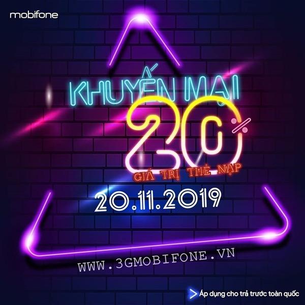 Mobifone khuyến mãi ngày 20/11/2019 tặng 20% thẻ nạp toàn quốc