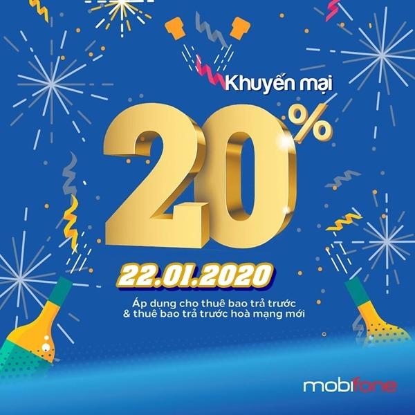 Mobifone khuyến mãi ngày 22/1/2020 ưu đãi 20% thẻ nap toàn quốc