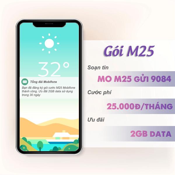 Đăng ký gói cước M25 Mobifone nhận 2GB data sử dụng thả ga 30 ngày