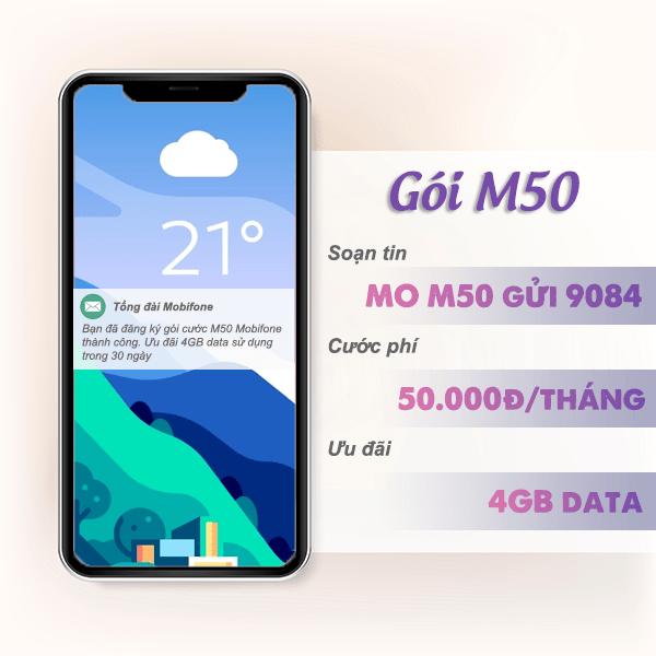 Ưu đãi 4GB data chỉ 50k/tháng khi đăng ký gói M50 Mobifone
