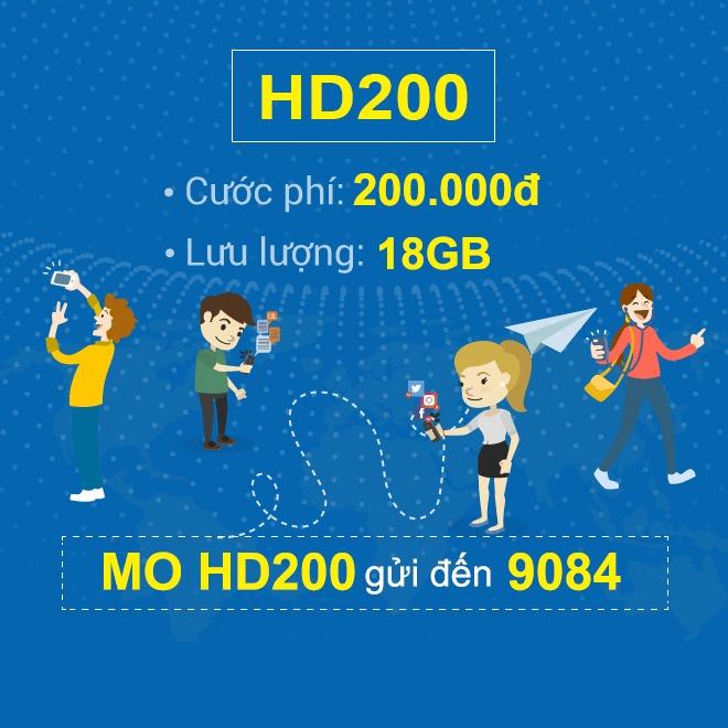Đăng ký gói cước HD200 Mobifone nhận ngay 18GB Data 4G