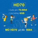 Đăng ký gói cước 4G HD70 Mobifone nhận 6GB/tháng chỉ 70.000đ