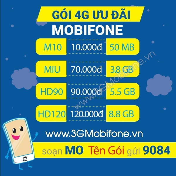 Cách đăng ký gói cước 3G Mobifone 3 ngày, gói cước 3g Mobifone 7 ngày giá tiết kiệm nhất