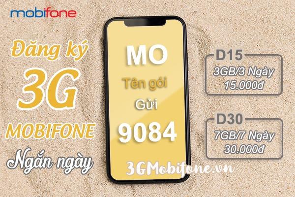 Cách đăng ký gói cước 3G Mobifone 3 ngày, gói cước 3G Mobifone 7 ngày