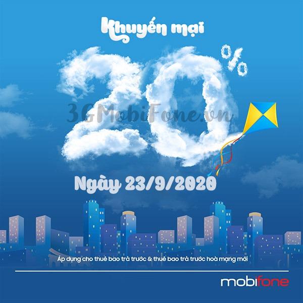 Khuyến mãi Mobifone ngày 23/9/2020 ưu đãi ngày vàng toàn quốc