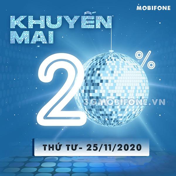 Mobifone khuyến mãi ngày 25/11/2020 ưu đãi ngày vàng trên toàn quốc