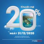 Mobifone khuyến mãi ngày 31/12/2020 ưu đãi 20% giá trị tiền nạp trên toàn quốc