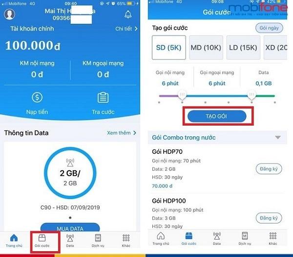Cách tạo gói cước MobiFone khuyến mãi 4G, gọi thoại trên App My Mobifone