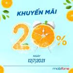 Mobifone khuyến mãi ngày 12/7/2021 ưu đãi 20% giá trị tiền nạp bất kỳ
