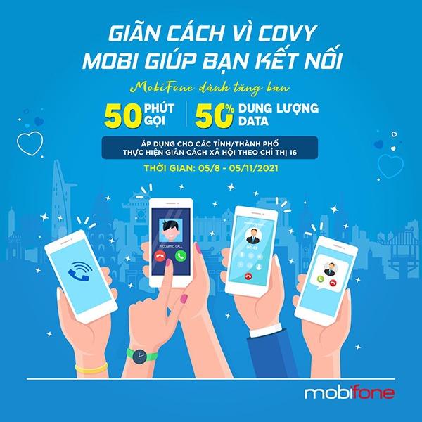 Mobifone khuyến mãi tặng thêm 50% data, 50p gọi Free nội mạng