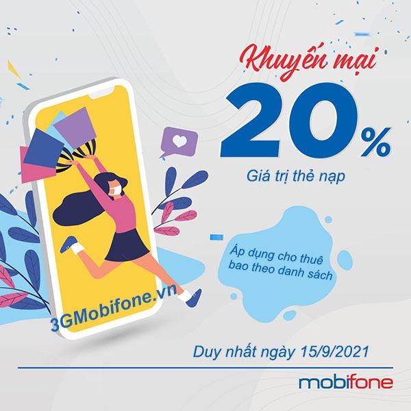 Khuyến mãi Mobifone ngày 15/9/2021 ưu đãi 20% giá trị tiền nạp
