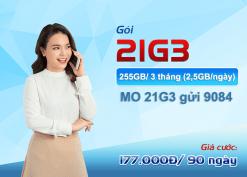 Đăng ký gói cước 21G3 Mobifone nhận data khủng dùng thả ga 3 tháng